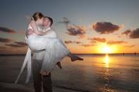 Couple on beach on Isla Mujeres.